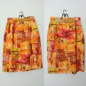 Vintage 60s Bright Colorful Pencil Skirt M/L